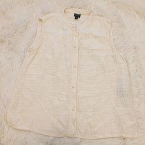 EILEEN FISHER Silk Linen Ivory Sleeveless Button